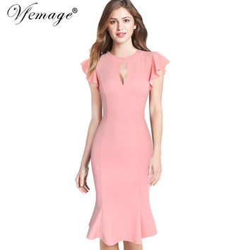 Vfemage Womens Sexy Keyhole Ruffles Frill Vintage Bodycon Formal Party Evening Special Occasion Mermaid Wiggle Pencil Dress 6680