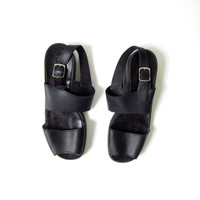 vintage black leather peep toe buckled sandals  // women's 8