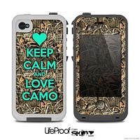 The Trendy Green Keep Calm & Love Camo Real Woods Skin for the iPhone 4-4s LifeProof Case