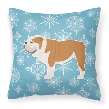 Winter Snowflake English Bulldog Fabric Decorative Pillow BB3562PW1818