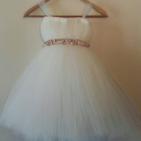 Ivory Tulle Flower Girl Tutu Dress / Baptism Gown / Junior Bridesmaid Dress / Pageant Dress / Christening Gown / Flowergirl / Flower girl
