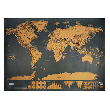 Scratch Map Travel 82.5 x 59.5cm Deluxe Traveler Scratch Off Personalized World Map Poster Vintage Black Wall Sticker Home Decor