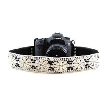 White Lace 2In Camera Strap Capturing Couture - CASLR20-WT