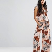 Missguided Retro Floral Tie Shoulder Top & Trouser Co-Ord at asos.com