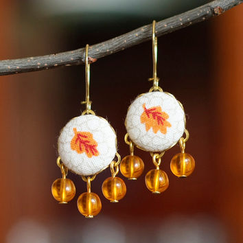 Dangle Earrings - Autumn Leaves - Yellow, Beige, Brown and Mustard Romantic Fall Fabric Covered Buttons Earrings with Czech Glass Beads