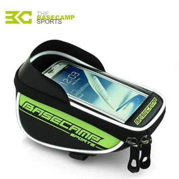"BaseCamp Waterproof Mountain Road MTB Bike Bicycle Front Top Frame Handlebar Bag Cycling Pouch Touchable For 5.5"" Mobile Phone"