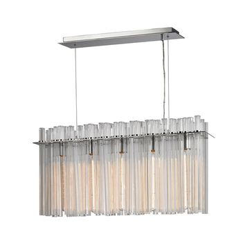 Fringe 5 Light Chandelier In Polished Stainless Steel and Nickel