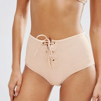 ASOS Eyelet Lace Up Crop Bikini at asos.com