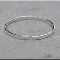 Ultra Thin Hammered Sterling Silver Stacking Ring, Dainty Sterling Ring, Thin Ring, Tiny Sterling Stacking Ring, Hammered Stacking ring