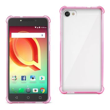 Alcatel Crave Clear Bumper Case With Air Cushion Protection (Clear Hot Pink)