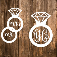 "FREE SHIPPING | Wedding Monogram Decal | Engagement Ring Monogram | 6"" Decal TWO Styles Available"