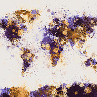 World Map Paint Splashes Digital Art by Michael Tompsett - World Map Paint Splashes Fine Art Prints and Posters for Sale