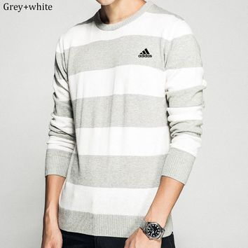 ADIDAS 2018 autumn new slim embroidered men's striped round neck long-sleeved sweater Grey+white