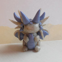 Miniature polymer clay dragon sculpture - Blue and granite dragon figurine - Clay dragon statue - Miniature fantasy sculpture figurine.