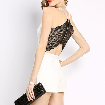 Back Lace Accented Romper