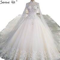 White Luxury Lace Wedding Dresses High Neck Sequined Ball Gown Princess Bridal Dress