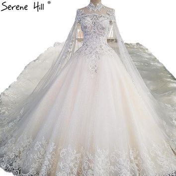 2018 White High-end Luxury Lace Wedding Dresses High Neck Sequined Ball Gown Princess Bridal Dress Vestido De Noiva