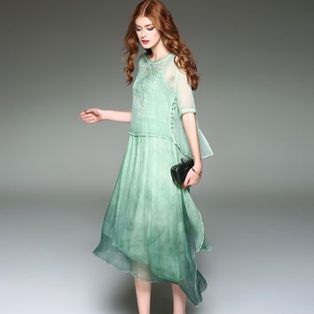 2017 New Spring Summer Women Vintage Dress Fashion New Retro Chinese Style Solid Color Cheongsam Silk Dress Autumn Girl Dresses