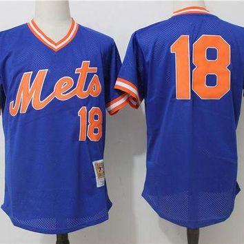 ONETOW Men's New York Mets Darryl Strawberry Mitchell & Ness Royal Cooperstown Mesh Batting Practice Jersey