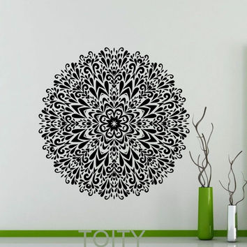 Mandala Sticker Wall Art GYM Mehndi Ornament Yoga Namaste Peaceful Pattern Vinyl Decal Home Interior Room Indian Decor Mural