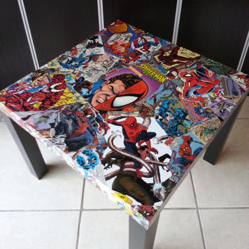 Spiderman and Villains Comic Collage Table FREE SHIPPING USA
