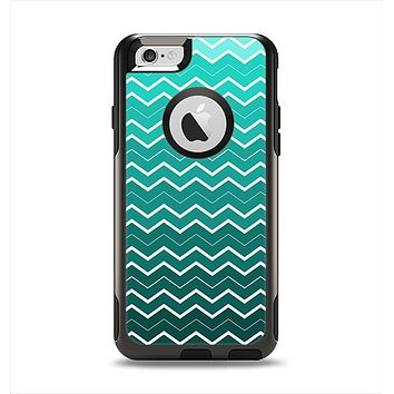 The Teal Gradient Layered Chevron Apple iPhone 6 Otterbox Commuter Case Skin Set