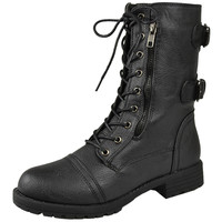 Womens Mid Calf Boots Motorcycle Hiking Combat Casual Shoes Black SZ