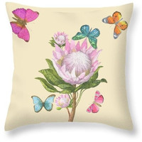 Floral Butterfly Watercolor Decorated Throw Pillow