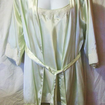 Robe,Night Gown Set, Nine & Co Sage Green Satin,Short, Kimono Style, Bridal, Honeymoon, Size L Large, Resort Cruise Wear Sexy Night Gown