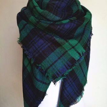 Tartan Oversized Scarf - Blue/Green