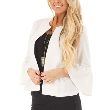 Off White Bell Sleeve Jacket with Gathered Waistline