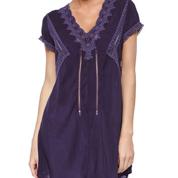 Short-Sleeve V-Neck Long Tunic,