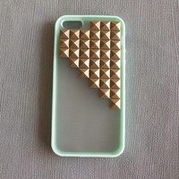 Studded iPhone 5 Case,Iphone 5 case, Antique Bronze Pyramid Studs Mint green  Frosted Translucent iPhone case,Studded Cases