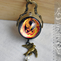 Vintage style Hunger Games Pocket Watch Necklace by ArtCity2011