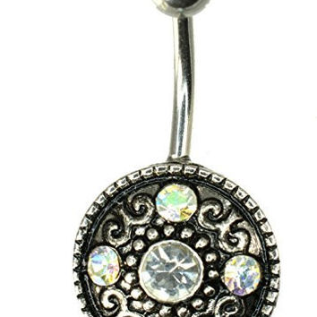 14GA 3/8 Inch 316L Surgical Steel Large Bezel Clear CZ Vintage Antiqued Floral Navel Ring 10mm 883