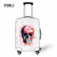 Skull Suitcases Cover Thick Elastic Luggage Protective Cover Zipper For 18-30 inch Case Punk Travel Suitcase Covers