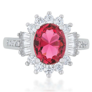 Chrisalee Ruby Classic Cluster Cocktail Ring  | 4.5ct | Cubic Zirconia
