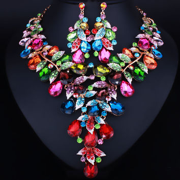 Unique Leaf shape Design Crystal Necklace Earrings set Dubai Jewelry Set for Women Wedding Prom Accessory
