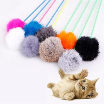 1pcs Cat Teaser Toy Plush Ball Cat Catcher Funny Interactive Cats Toys Training Play Pet Kitten Toy - color random