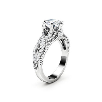 Moissanite Engagement Ring 14K White Gold Ring Milgrain Ring Moissanite Ring