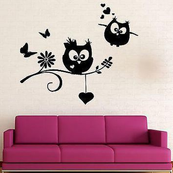 Wall Stickers Owls Birds Branch Heart For Kids Baby Room Vinyl Decal Unique Gift (ig1422)