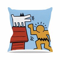 "Jared Yamahata ""Haring-Schulz"" Illustration Pop Art  Outdoor Throw Pillow"