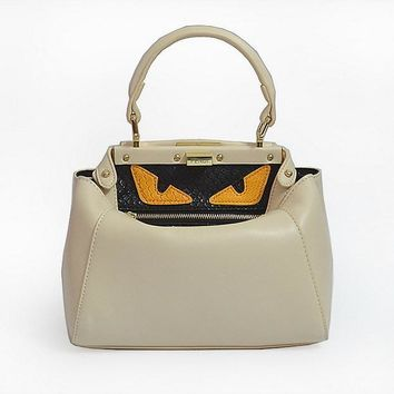 new arrival fendi fashion off white textured leather shopper tote handbag bag