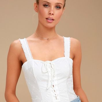 Make Me Up Ivory Lace-Up Bodysuit