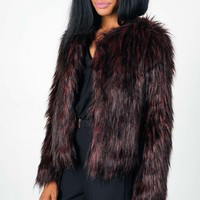 Oh My Love Luxe Deluxe Oxblood Faux Fur Coat