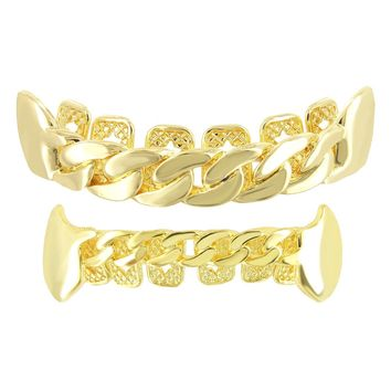 Miami Cuban Design Top & Bottom Men's Grillz Set