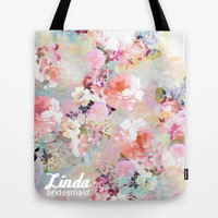 Customized tote bag, custom gift, student bag, teacher bag, flower tote, brdiesmaid tote, tote with name, personalized tote bag with zipper