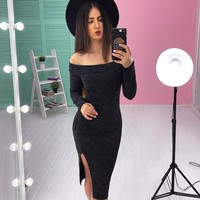Fashion Casual Simple Long Sleeve Off Shoulder Bodycon Side Split Dress