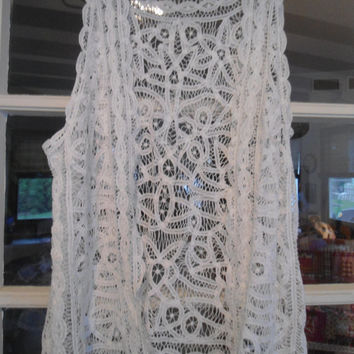 Size Large to XL Battenburg Lace Vest Hippie Boho Janis Joplin Hippie Syle Clothing