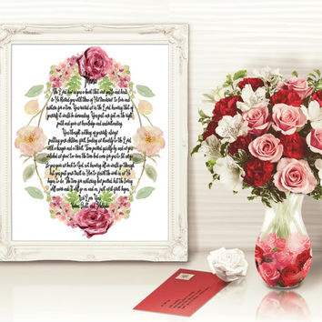 Personalized Mother's Wall Print, Personalized Mother Poem, Christian Mom Wall Art Decor, Wife Wall Art, Watercolor Roses Wall Art, Mom Art